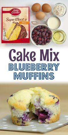 Moist Blueberry Muffins, Blueberry Cookies, Blue Berry Muffins, Blueberry Muffin Cake Mix Recipe, Blueberry Recipes Using Cake Mix, Easy Blueberry Desserts, Simple Muffin Recipe, Blueberry Breakfast, Blueberry Jam