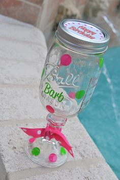 Happy Birthday Red Neck Wine Glasses. They can be customized with any colors and of course we can add the birthday girls name!