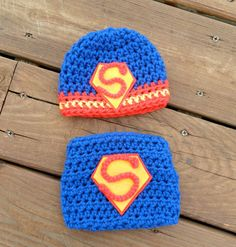 $34.75 Wanted: 1 in size 0-3 months. Handmade, crochet superman inspired hat and diaper cover matching set, superman outfit, Photo prop for newborn photography