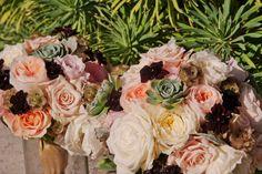 #Bouquets, #DavidAustengardenroses, #dahlias #fragrantstock #silverdustymiller #succulents #chocolatecosmos #bohobouquet