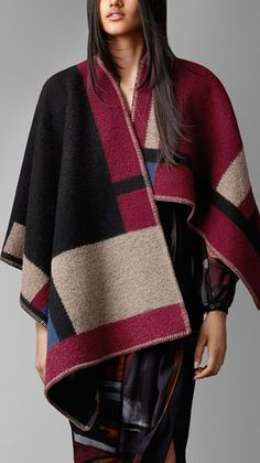 Colour Block Check Blanket Poncho w/ Monogram Initials (CDF), by Burberry