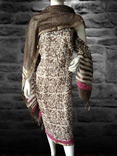 Buy Printed Cotton Dress Material w/ Chanderi Dupatta- Brown & Pink