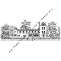 Château Saint-émilion - Amelie Claire illustration traditionnelle