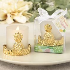 Pineapple Design Votive Candle Holder-Warm Welcome Collection- Don't miss out on the hot pineapple trend! Offer this exquisite pineapple favor to guests at your next special event. This classy pineapple favor symbolizes a warm welcome, hospitality, f Wedding Favor Sayings, Popcorn Wedding Favors, Winter Wedding Favors, Candle Wedding Favors, Candle Favors, Wedding Party Favors, Bridal Shower Favors, Wedding Ideas, Wedding Goals