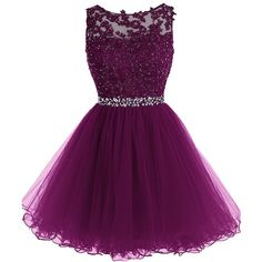Tideclothes Short Beaded Prom Dress Tulle Applique Evening Dress ($86) ❤ liked on Polyvore featuring dresses, purple tulle dress, short dresses, cocktail prom dress, beaded dress and short cocktail dresses