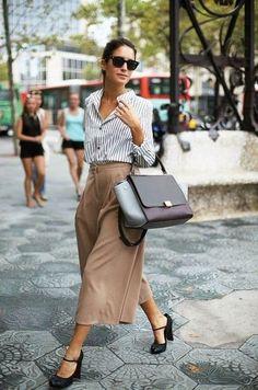 Cropped Khaki Wide Legged Pants 2017 Street Style