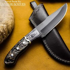 ALONZO KNIVES USA CUSTOM HANDMADE TACTICAL HUNTING 1095 KNIFE RAM HORN 449 #AlonzoKnives