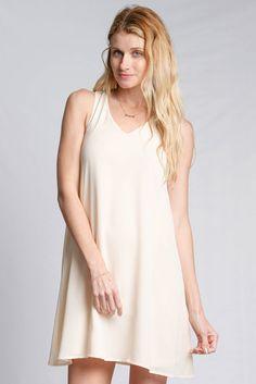 Woven Dress With Back Lace Trim, Crepe Shift Dress, Chiffon V-Neck Shift Dress #YaLosAngeles #ChiffonVNeckShiftDress #Casual
