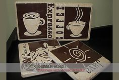 DIGITAL DOWNLOAD - a finished photo showing how the coffee vector designs @ My Vinyl Designer can be used on vinyl tiles (http://www.myvinyldesigner.com/Products/modern-wall-art-7.aspx)