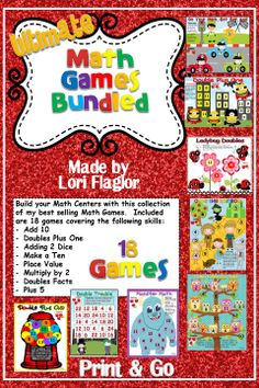 A collection of 18 Math games to build your math centers.