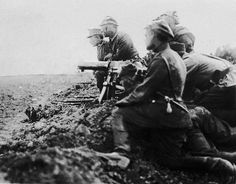 Polish Schwarzlose MG M.07/12 machine gun crew at the Battle of Radzymin Poland August 1920.
