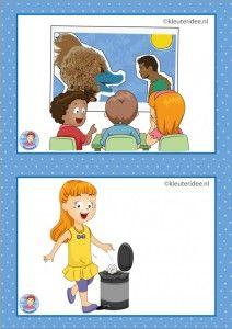 32 dagritmekaarten voor kleuters, juf Petra kleuteridee / Preschool schedule cards, video kijken en opruimen