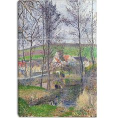 Design Art 'Camille Pissarro - The Banks of the Viosne' Art Print - 28Wx36H Inches - 3 Panels