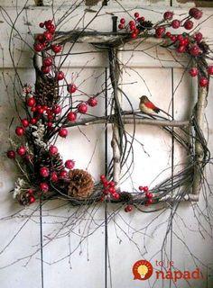 Crimson Berry Window - Winter Wreath - Birch Window - List of the best garden decor Diy Christmas Decorations, Christmas Wreaths For Front Door, Christmas Porch, Outdoor Christmas, Rustic Christmas, Diy Christmas Gifts, Christmas Ornaments, Holiday Wreaths, Amazon Christmas