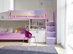 Classic by flexa lit mi hauteur 90x200 cm naturel avec des rideaux de princes - Lits superposes 90x200 ...