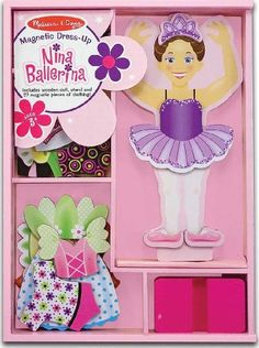 Magnetic Dress-up Dolls - Nina Ballerina  Magnetic Dress Up Wooden Doll  Stand  FREE Melissa  Doug Scratch Art MiniPad Bundle 35545 ** You can get additional details at the image link.