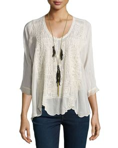 Clearwater Scoop-Neck Embroidered Top, Size: MEDIUM (8/10), White - JWLA for Johnny Was