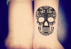 Skull Temporary Tattoo, Small Wrist Tattoo, Black Henna Tattoo, Tribal Tattoo, Mexican Tattoo, Indian, Cinco De Mayo, Day of the Dead