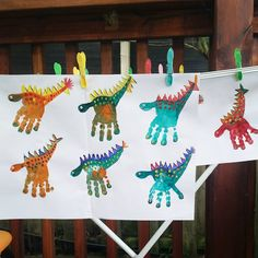 Dino Party - Dino handprints on the line ...