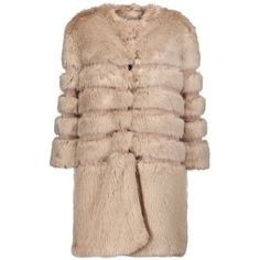 Ainea - Faux Fur And Satin Coat (1.355 BRL) ❤ liked on Polyvore featuring outerwear, coats, beige, imitation fur coats, beige coat, faux fur coat, fake fur coats and satin coat