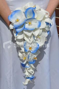 Beautiful Artificial Fresh Touch Blue Tipped Phalaenopsis Orchid and White Calla Lily Cascade Bridal Bouquet- Silk Flowers #artificialflowers #wedding #weddingflowers #bouquet #flowers #bridalbouquet #silkflowers #orchids #blue #cascade #lilies