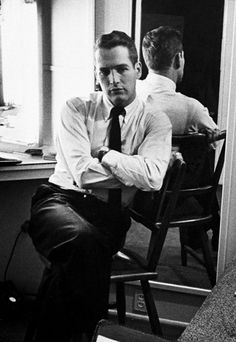 Paul Newman photographed in his dressing room by Leonard McCombe, 1958.