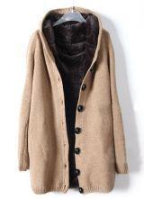 Khaki Hooded Long Sleeve Single Breasted Loose Coat $65.36