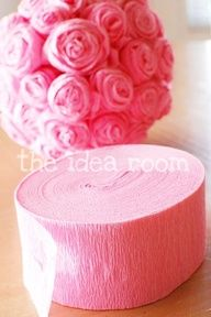 crepe paper roses tutorial. So neat! I have a ton of red, black, and white crepe paper left over from decorating from my daughters 1st birthday in a lady bug theme, im thinking about doing these for her room! (which is also ladybug theme)