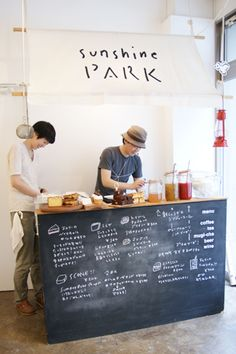 mini sandwich shop/pop up patisserie:: put bookcase on casters, paint the back with chalkboard paint, spin it around for pop-up sales