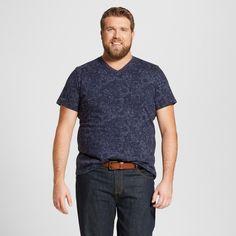Men's Big & Tall V-Neck T-Shirt - Mossimo Supply Co. Navy Print