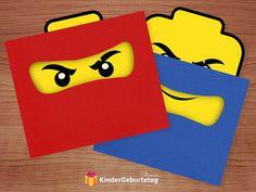 Ninjago invitation cards for printing- Ninjago Einladungskarten zum Ausdrucken Invitation card as a Ninjago mask - Lego Ninjago, Ninjago Party, Ninja Birthday Parties, Watermelon Birthday Parties, Birthday Ideas, Toy History, Birthday Invitations Kids, Birthday Cards, Invitation Cards