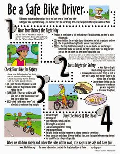 Different tips on biking safety. Show this before lesson to make sure kids understand it before they bike. Summer Safety, Safety Week, Safety Tips, Cub Scouts, Girl Scouts, Tiger Scouts, Scout Bike, Health Fair, Health Class