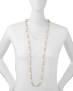 """Pearl & Crystal Long Necklace, 44""""L"""