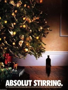 ABSOLUT STIRRING VODKA AD 1994 CHRISTMAS TREE WITH PRESENTS #1