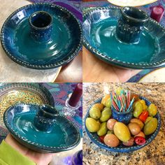 Olive or cheese server. Power turquoise with seaweed and blue rutile glaze on rim