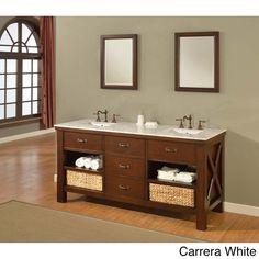 70-inch Espresso Extraordinary Spa Double Vanity Sink Cabinet | Overstock.com