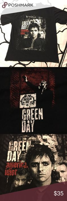 Shirt, Short Sleeve Green Day's American Idiot Relevant in 2004 and sadly... relevant now... 13 years later in our times. Soon to be a vintage item from the American Idiot merch. Men's size, but unisex and can be modified! Cut and sliced! Take this Green Day shirt away to your next march or punk show. Bay Area legends. 100% cotton; image on back and front. Some wear on image, some fading of black but makes it worn in and extra punk rock! Hard to find item, unique design. Promo Stars Shirts…