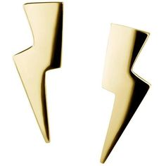 Gold Vermeil And Silver Lightning Bolt Earrings ($93) ❤ liked on Polyvore featuring jewelry, earrings, multiple, silver jewelry, earring jewelry, silver earrings, silver jewellery and vermeil jewelry