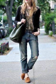 sequins and boyfriend jeans