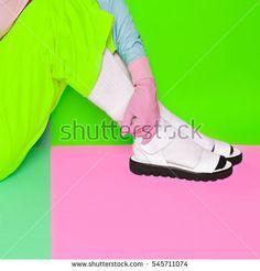 Fashion minimalist design. Pop Art. Creative Shoes. Vanilla color. Fashion in details