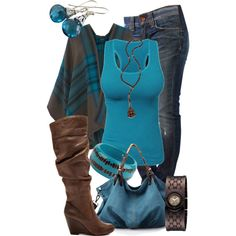 """Blue & Brown"" by jacci0528 on Polyvore"