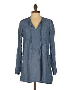 CP Shades Angel Tunic in Storm Blue Cotton/Silk | Pin tuck details make this tunic one of CP Shades' most-flattering tops. #blissboutiques #cpshades #angel #tunic #stormblue #cotton #silk