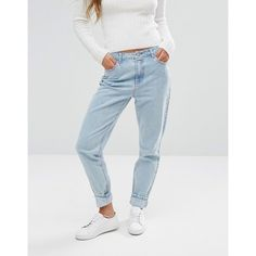 Missguided Riot High Rise Mom Jean (670 ZAR) ❤ liked on Polyvore featuring jeans, blue, slim jeans, slim cut jeans, tall jeans, relaxed fit jeans and tapered leg jeans