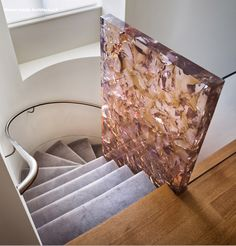 PIN This balistrade for the stairs has such an incredible effect. Made from epoxy resin it is transparent enough to keep the space roomy but also a clear divider Robin Reigi - artisanal cast resin atta cracked resin slab Wood Resin, Resin Art, Interior Design Living Room, Interior Decorating, Room Interior, Diy Furniture, Furniture Design, Architectural Materials, Deco Nature