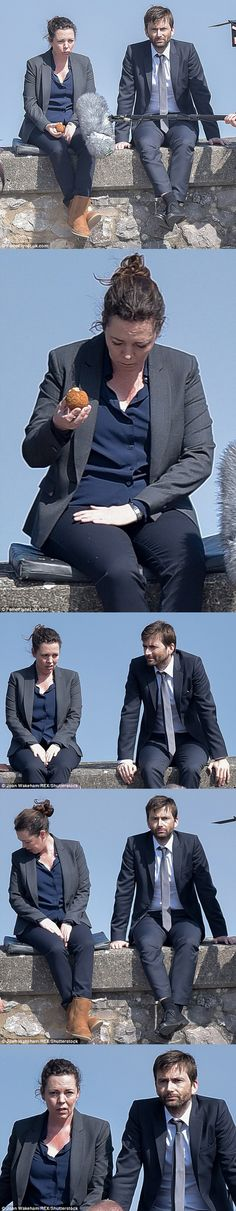 #Broadchurch 3 Filming — 3 June 2016 - David & Olivia filming a scene from Broadchurch 3. The two were spotted sitting on the sea wall on a beautiful sunny day in Clevedon, Somerset. At one point Olivia was given a cushion to sit on, obviously the hard stone wall was proving to be uncomfortable. Photos: ©Joan Wakeham & ©FameFlyNetUK