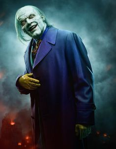 So we have a new Joker (Gotham TV version). Looks like they took every live-action Joker and mashed them together to get this quite scary looking ine. The way he's been played so far, he might be one of the best iterations in my opinion. O Joker, Gotham Joker, Gotham Villains, Gotham Tv, Batman Arkham, Jack Nicholson, Series Dc, Poster Series, Pop Art