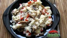 Orez cu ardei si ciuperci Potato Salad, Cauliflower, Potatoes, Rice, Vegetables, Ethnic Recipes, Salads, Cauliflowers, Potato
