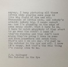The Catcher in the Rye Quote Typed on Typewriter by farmnflea, $12.00