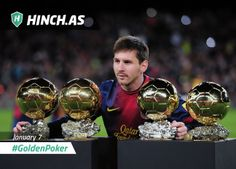 MESSI WINS HIS FOURTH GOLDEN BALL   #GoldenPoker  Lionel Messi became the first player to win this award four times in a row. For many people this made him the best footballer of all times.