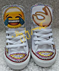 86d5aa0dcf0 Custom bling and pearls emoji converse and FREE matching t shirt